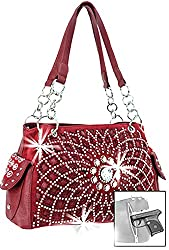 Burgundy Starburst Concealed With Rhinestone Handbag
