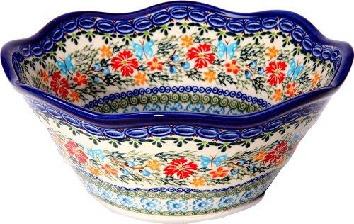 Polish Pottery Ceramika Boleslawiec - Taza, diseño de flores y mariposas azules, color azul real