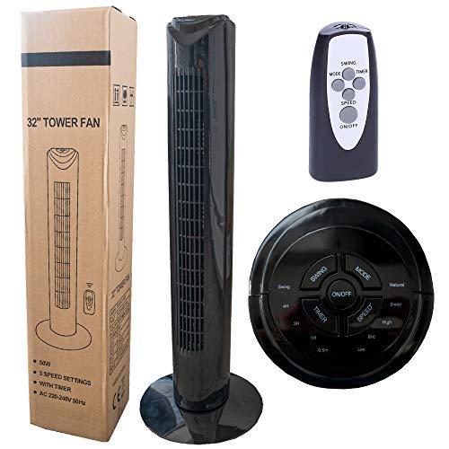 Wessper Ventilador de Torre con Temporizador, Mando a Distancia, 3 velocidades, Movimiento oscilante y 50 W de Potencia – Negro