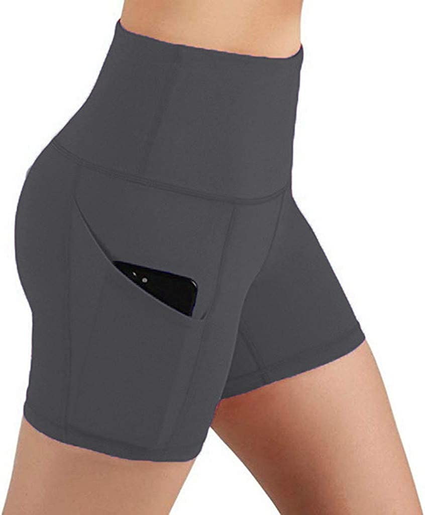 UBST Women's High Waisted Workout Shorts, Tummy Control Yoga Running Cycling Hiking Athletic Biker Shorts with Pockets