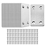 TOPPROS Pack of 20 Flat Metal Straight Brace Bracket 0.06inch Thickness Metal Flat Straight Mending Plates Fixing Corner Brace,2.4inch x 1.5 inch