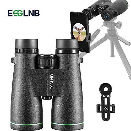 ESSLNB Prismaticos 10X50 Prismaticos Profesionales con Adaptador de Telefono BAK4 Completamente Multi-Revestido Prisma para Observación de Aves Caza con Bolso y Correa