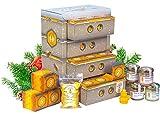 Honig Adventskalender in hochwertiger Bienenkasten-Optik – naturbelassener Honig zum Verschenken oder Kennenlernen | Geschenkset mit 21 Sorten Honig, Honigbonbons und Bienenwachskerze