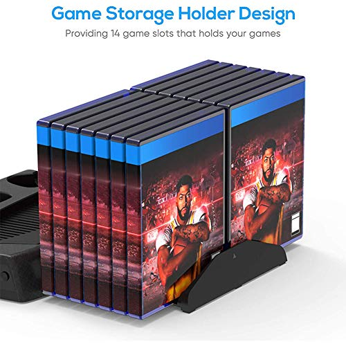 PS5 Cooling Stand, PS5 Stand with Cooling Fan, PS5 Charging Dock and 3 Port USB Hub Compatible with Original PS5 Slim