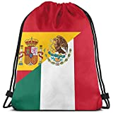 MOTALIN Bolsos de hombro escolares unisex,bolso de viaje con cordón Bandera de España y México Mochila Gimnasio deportivo Bolsa de yoga