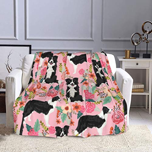 Border Collie Florals Cute Pink Flowers Sherpa Throw Blanket Super Soft Lightweight Microfiber Blanket Cozy and Warm for Bed Sofa Chair Car Camping