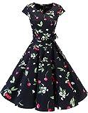 Dresstells Vintage 50er Swing Party kleider Cap Sleeves Rockabilly Retro Hepburn Cocktailkleider Black Small Cherry-S