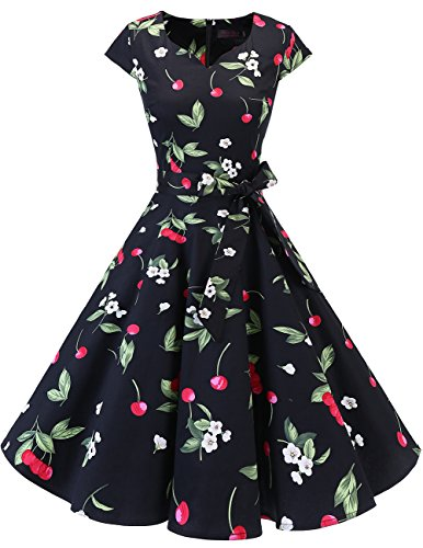 DRESSTELLS Retro 1950s Cocktail Dresses Vintage Swing Dress with Cap-Sleeves Black Small Cherry 3XL