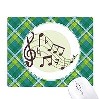 丸い形のflappg音楽ノート 緑の格子のピクセルゴムのマウスパッド