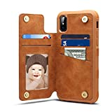 Spaysi iPhone X Card Holder Case, iPhone X Wallet Case Slim, iPhone X Folio Leather case Cover Shockproof Case with Credit Card Slot, Durable Protective Case for iPhone 10 (Brown)