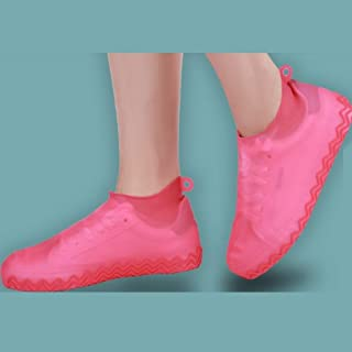 Silicone Rain Boots, Portable Stretch Shoes, Non-Slip Reusable, Silicone Waterproof Shoe Cover LJJOO (Color : Red, Size : S)