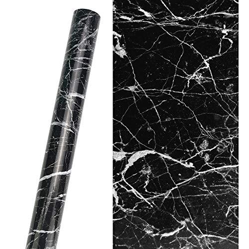 KBNIAN Carta marmorizzata nera, Carta adesiva per mobili in marmo impermeabile in PVC, Carta adesiva in marmo autoadesiva antiolio Rotolo 40 * 300 cm