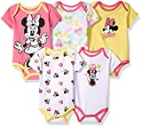 Disney Baby Minnie Mouse 5 Pack Bodysuits, Multi/Salmon Rose Pink, 18M