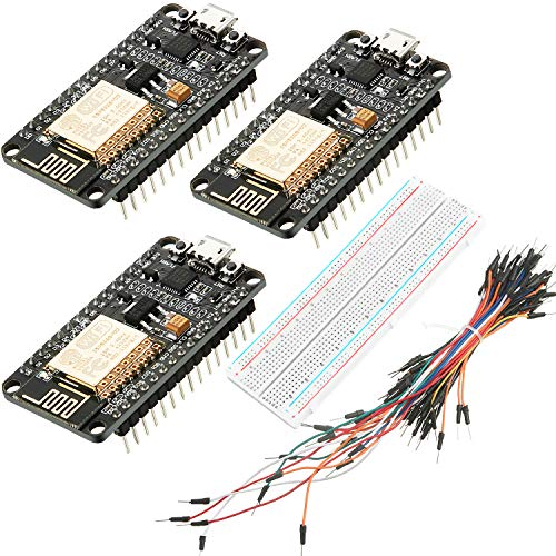 3 Pieces ESP8266 CP2102 ESP-12E Internet WiFi Board Open Source Serial Wireless Module for NodeMCU Arduino IDE Micropython, 830 Point Solderless Breadboard and 65 Pieces Breadboard Jumper Wires M/M