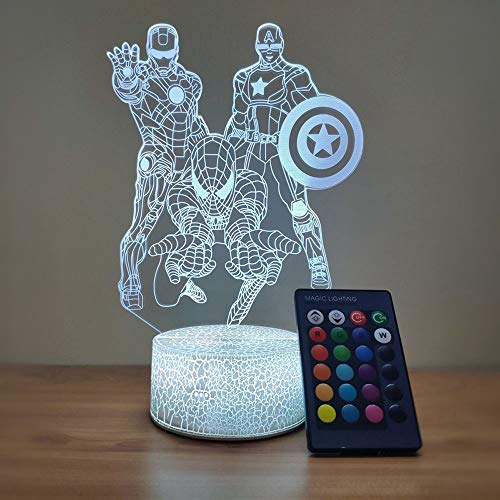 Spiderman Night Light for Kids Table Spiderman Lamp Christmas Present, 3D LED Illusion Lamp for Boys Bedroom Room Decoration, Remote Control Nightlight and Touch Light up (Spiderman Light)