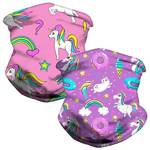 Sinwind Scaldacollo Bambini, 2 Pezzi Copricapo Multifunzione Fascia Bandana, Multiuso Sciarpa per Bambini, Molto Adatto per Ciclismo, Escursionismo, Corsa (Unicorno)
