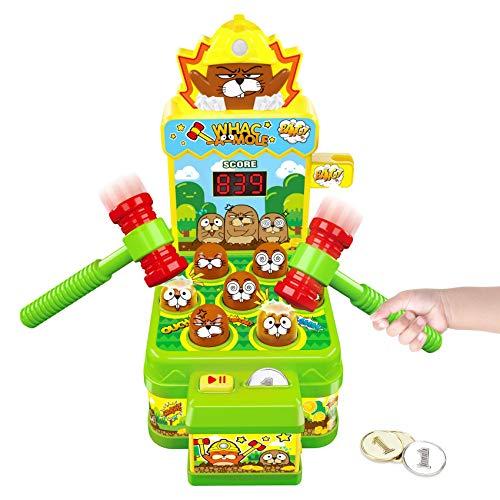Gimsan Whac-A-Mole-Spiel, Schlag den Maulwurf, Elektronisches Mini Arcade Spielzeug, Münzspiel mit 2 Hämmern für Ausbildung Konzentration und Reaktion, Interaktives Spiel Hammerspiel Spielzeug