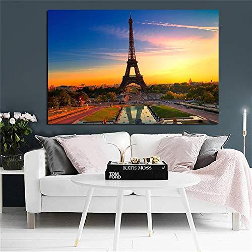 sanzangtang Rahmenlose Malerei Paris Stadt Eiffelturm Landschaft Leinwand Malerei nordische Plakate und Drucke Moderne Wohnzimmer DekorationCGQ6055 20X30cm