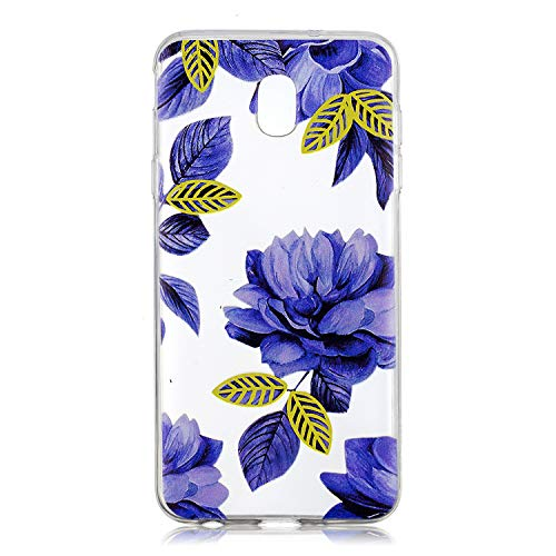 Check Out This Clear Case for Samsung Galaxy J3 2018,Aoucase Ultra Thin Art Pattern Soft TPU Rubber Shockproof Non-Slip Back Case with Black Dual-use Stylus,Blue Flower