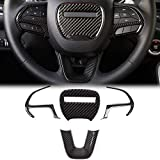 Voodonala for Challenger Charger Steering Wheel Cover Accessories Trim for 2015-2020 Dodge Challenger Charger Carbon Fiber
