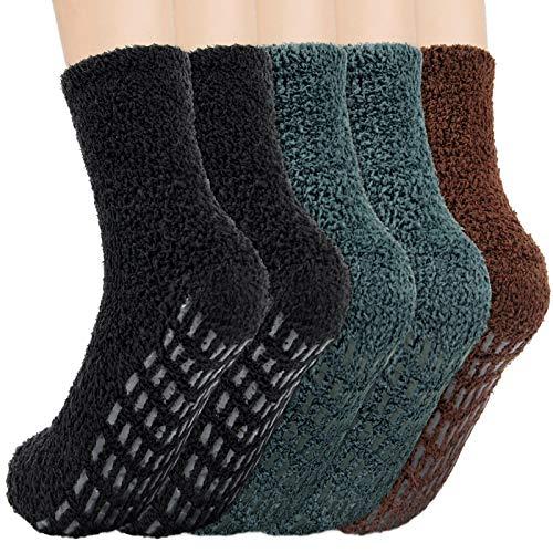 SIMIYA Herren Socken Warme Wintersocken Hausschuhsocke super weiche Mikrofaser Rutschfeste Home Socks (5 Paar)