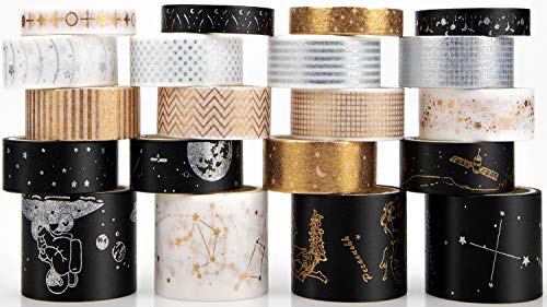 Washi Tape Set de 20 rollos de cinta adhesiva decorativa para el arte y el bricolaje, embellece los cuadernos de bola, Scrapbooking, Planificadores, Diarios, Decoración de Regalos (Planeta)