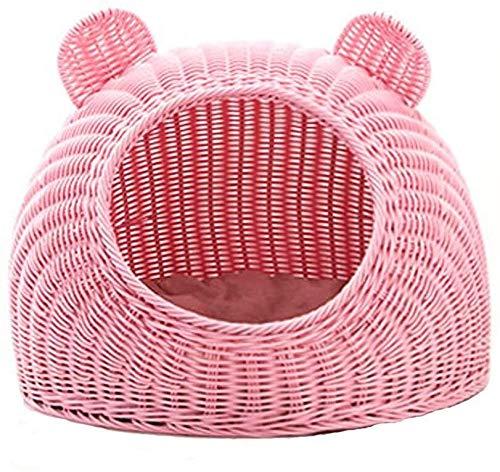 LGQBH Haustierbett Haustier-Bett-Haustier-Nest-Hundehaus Rattan Cat Nest Sommer Geschlossenen Cat House Doghouse Pet Wurf Katzenbedarf Betmatte Schlafsack Four Seasons Universal-Haustierhaus