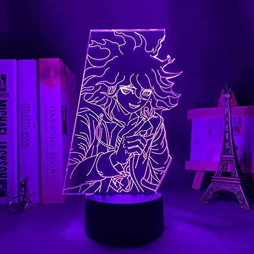 GEZHF 3D anime noche luz Danganronpa V3 LED noche luz Nagito Komaeda COR niños habitación lámpara regalo Danganronpa V3 acrílico neón lámpara Nagito Komaeda regalos para niños