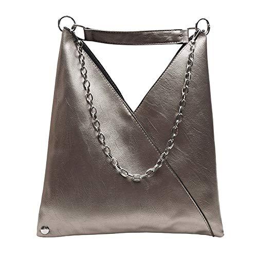 weichuang Bolso de mano de cuero para mujer, bolsos de diseñador de gran capacidad, bolsas de hombro para mujer, 37 x 2 x 30 cm, bolsos para mujer (color: bronce)