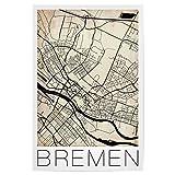 artboxONE Poster 90x60 cm Städte Bremen Vintage Map