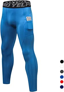 Men's Cool Dry Breathable Compression Pants Baselayer Running Tights with Pocket,Blue,S
