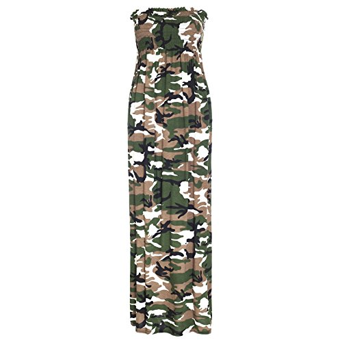 Oops Outlet Women's Printed Gathered Boobtube Bandeau Sheering Long Maxi Dress Plus Size US 12 Army