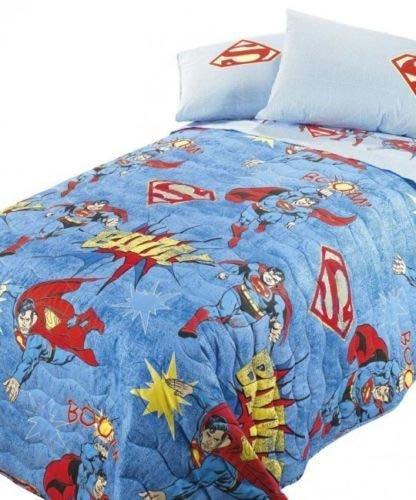 Russe Tissus Couette Couette Caleffi Superman Vintage 1 Place et Demi Demi Gris Bleu Bleu
