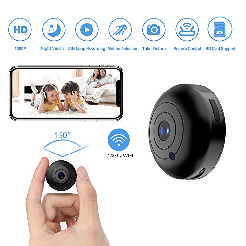 Mini Hidden-Camera WiFi-Spy Camera Wireless 1080P, Oucam Small Spy Cam Nanny Cam with Audio and...