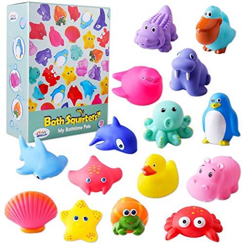 Gudotra 15pcs Juguetes para Baño Bebe Juguetes Animales con Sonido y Squirting...