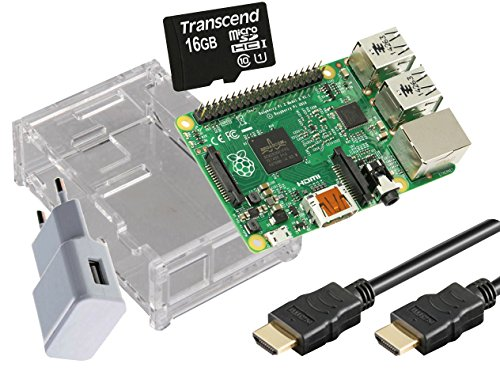 Raspberry Pi 3 Model B 1GB Starter Kit 16GB microSDHC 1m HDMI-Kabel transparent