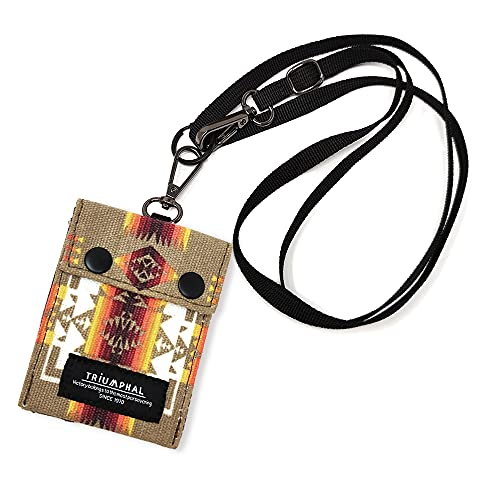 ネックポーチ 小銭入れ カード入れ ネックストラップ付き コインケース 柄ベージュ cdnp-008