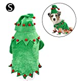 Elf Pet Costume - Christma Dog Costume with Hat Santa Xmas Elf Dog Costume Outfit Leg Cuff Set for Small Medium Dogs Holiday Clown Clothes