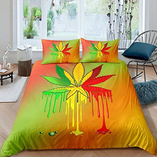 Juego de cama de hojas de marihuana para niños, niñas, adultos, marihuana, maleza, hoja colorida de cáñamo, colección de dormitorio, 3 piezas, Super King
