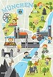 München Poster für Kinder | Kinderzimmer Deko | Plakat Kinderstadtplan | Kinderposter | Stadtplan für Münchner Kinder A3 Bayern