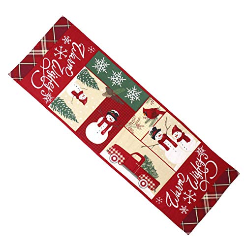 St. Nicholas Square Table Runner Snowmen, Red Truck, Warm Wishes Cardinal Appliqued and Embroidered 13 x 36 inches for Christmas Decorations