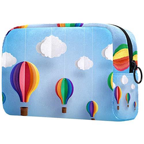 Origami Made Coloré Ballon à air chaud et CloudPortable Sacs de maquillage Sac à cosmétiques Imprimé Sac à cosmétiques Sac à cosmétiques pour femmes Voyage Sac à cosmétiques