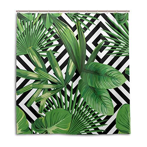 CPYang Duschvorhänge Dschungel Pflanze Geometrische Palmblätter Wasserdicht Schimmelresistent Bad Vorhang Badezimmer Home Decor 168 x 182 cm mit 12 Haken