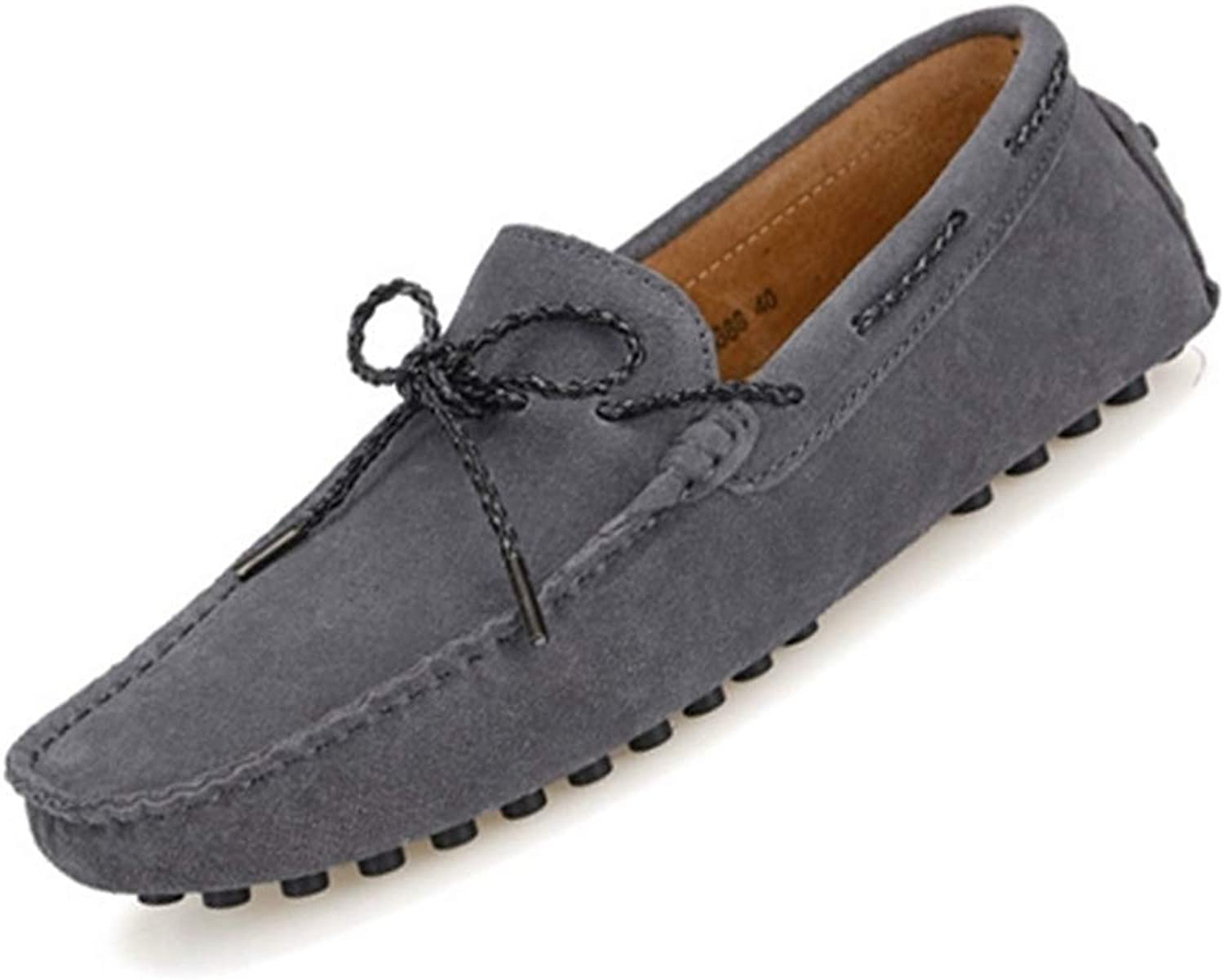 ZHRUI Man Moccasin Fashion Style Solid Adults Loafers Men Driving shoes (color   Dark grey, Size   9=43 EU)
