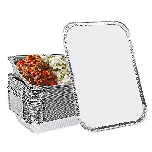 LdawyDE Teglie Alluminio USA e Getta Vaschette Alluminio con Coperchio Contenitori Alluminio Perfette per Alimenti, Cottura al Forno, Grigliare, Arrostire e Cucinare, 700ML, Confezione da 25