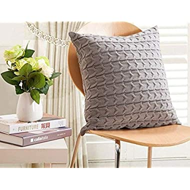 CottonTex SALES! Cotton Knitted Decorative Cushion Cover Cable Pattern, 17.5 by 17.5 Inch, Grey