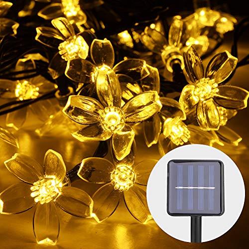 Herefun Blumen Lichterkette, 7 M 50 LED Blumen Lichterkette Solar String Lights Freien Wasserdicht Beleuchtung für Party, Weihnachten, Outdoor, Fest Deko Usw (Warmweiss)
