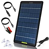 ECO-WORTHY 12 V 10 W Panel solar Trickle Charge Power Maintainer, kit de respaldo portátil con adaptador de clip de cocodrilo para coche, RV, barco, automóvil, motocicleta