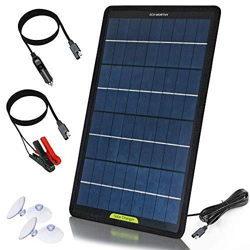 ECO-WORTHY 12V 10W Panel solar Trickle Charge Power Maintainer, kit de respaldo portátil con adaptador de clip de cocodrilo para coche, RV, barco, automóvil, motocicleta