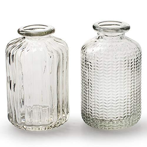 Annastore 12 x kleine Vasen aus Glas Vintage – Blumenvasen Tischvasen Glasvasen Dekoflaschen Glasflaschen Glasfläschchen Deko-Flaschen< Farbe Modell 4